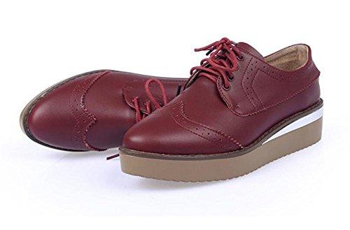 LDMB Frauen wasserdichte Plattform flachen Mund Retro geschnitzte Blume Schuhe Red