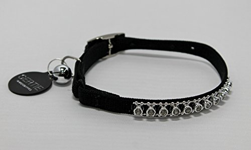 Whisker City DIAMANTE/BLING CAT, KITTEN COLLAR, SAFETY ELASTIC & MATCHING COLOUR DOUBLE SIDED ID TAG (BLACK)