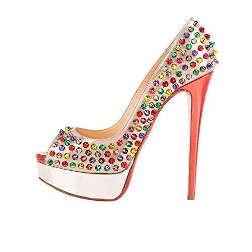 SHOFOO - Femmes - Stiletto - Blanc ou Multicolore - Cuir synthétique - Semelle compensée 3 cm - Rivets - Talon aiguille - Bout rond ouvert Blanc rivets multicolors