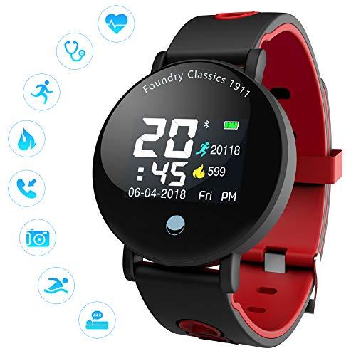 YK WATCH Pantalla Color Inteligentesrelojes Supervisión del sueño Monitor de Frecuencia Cardiaca podómetro Deportes IP68 Impermeable Fitness Tracker,Red