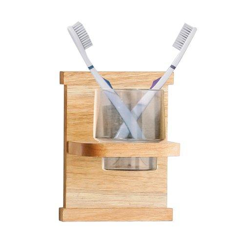 Premier Housewares Zahnputzbecherhalter, Walnussholz, 17 x 13 x 10,5 cm