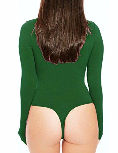 EMMA Damen elastisch Bodysuit Langarm Rundhals Sexy Body Top Leotard Tops Grün