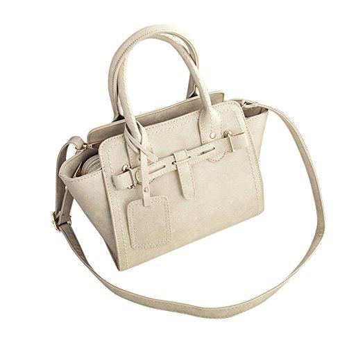 WTUS Damen Neue Europäische und Amerikanische Mode Einfach Wilde Schultertasche Messenger Bags Handtasche Beige