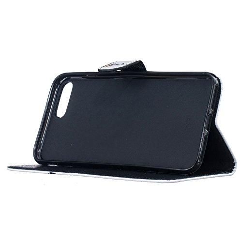 """Coque Apple iPhone 7 Plus 5.5"""" ,Feeltech Apple iPhone 7 Plus 5.5"""" Etui Premium PU Souple en cuir Couleur Motif flip couvercle portefeuille with courroie [Argent et titulaire de la carte] [Fermeture ma Lunettes Fox"""