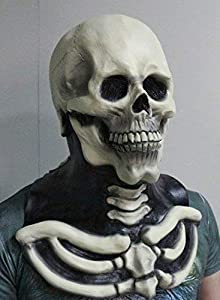 The Rubber Plantation TM 619219304443 Horror Scary Zombie Full Head and Chest Latex Skull Mask Halloween Skeleton Fancy Dress Distume Accessory, Unisex-Adulto, Talla Única