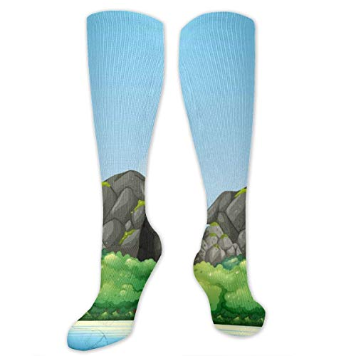 CVDGSAD Island Lighthouse and Cave Polyester Cotton Over Knee Leg High Socks Design Unisex Thigh Stockings Cosplay Boot Long Tube Socks for Sports Gym Yoga Hiking Cycling Running Travel (Cave Girl Island)