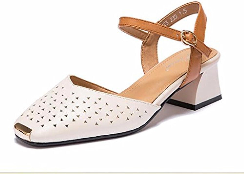 GTVERNH Cabeza Cuadrada Medio Tacón Hollow Sandalias Primavera Y Verano Baotou Vaciado Tacon Zapatos De Mujer...