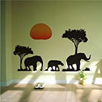 KINGSTONS African Elephants Trees Wall Sticker for home decor Animal Sticker