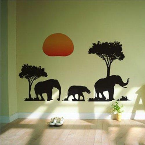 snowwer africanos Elefantes árboles pared arte Animal adhesivo decoración adhesivos vinilo