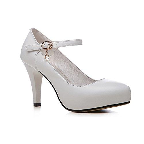 Escarpins XUERUI Shi Paiwei Boucle en Cuir avec des Chaussures Bouche Peu Profonde imperméable Chaussures à Talons Hauts Blanc Bien avec des Chaussures de Travail Petites Chaussures