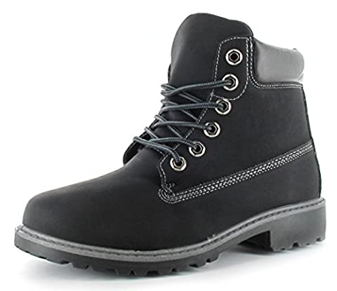 Womens High Top Boots Hiking Desert Trail Combat Ladies Ankle Work Lace Up Biker Shoes Size Bertie (uk4/37, Black)