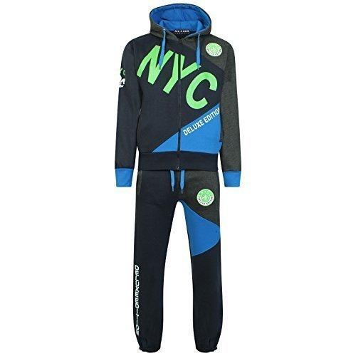 A2Z 4 Kids Kinder Jungen Trainingsanzug NYC DELUXE PROJECT Aufdruck - T.S NYC Deluxe Navy & Green...