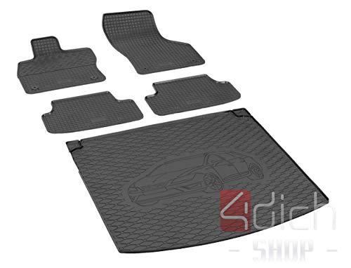 Passgenaue Kofferraumwanne und Gummifußmatten geeignet für SEAT Leon ST ab 2014 - EIN Satz