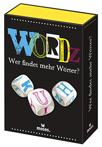 Moses 90238 Wordz-Wer findet mehr Wörter | Wortspiel für Spieler ab 8 Jahren, Mehrfarbig (Wort-spiel Würfel Mit)