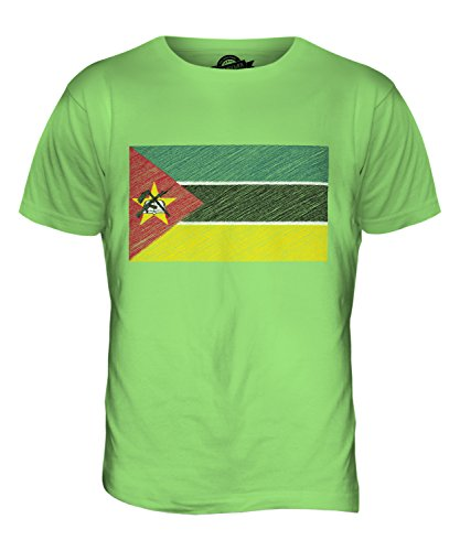 CandyMix Mosambik Kritzelte Flagge Herren T Shirt Limettengrün