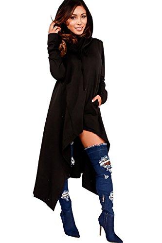 Minetom Mujer Casual Sudadera Con Capucha De Manga Larga Elegante Suelto Camisa Larga Color Sólido Blusa Tops Outwear Negro ES 38