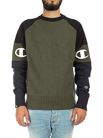 Champion Reverse Weave Men's Crewneck Sweatshirt , Green (Fon/nbk/nny), Medium