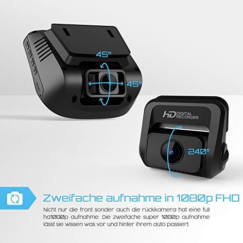 Crosstour Dashcam 1080P Full HD Vorne und Hinten Dual Lens, Externe GPS Auto Kamera, 170 ° Weitwinkelobjektiv HDR Nachtsicht, Bewegungserkennung G-Sensor Loop-Aufnahme - 2
