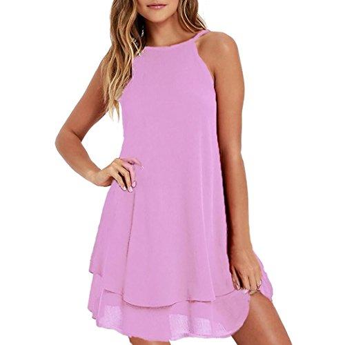 Xmiral Women Chiffon Solid Color Sleeveless Open Back Loose A-Line Mini  Dress (S 9aea2cc9a88