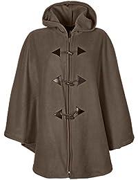 Capa con capucha estilo poncho, talla única (42 a 62) Beige marrón Talla