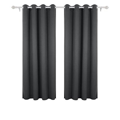 Deconovo tende oscuranti termiche isolanti con occhielli 2 pannelli 140 x 175 cm grigio scuro