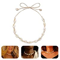 MOGOI Natural Cowrie Shell Choker Necklace for Women Girls, Handmade Adjustable Conch Shell Necklace Jewelry - Beautiful Stylish Seashell Strand Bracelets for Summer Vacation.White