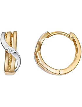Creole 333 Gold Damen Ohrringe Gelbgold Teilrhodiniert Durchmesser 13,50mm NEU (147095)
