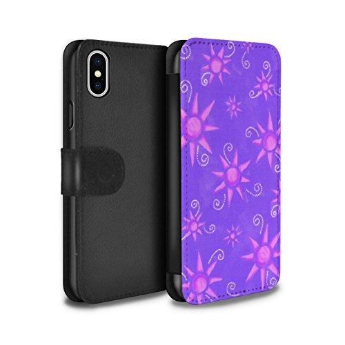 Stuff4 Coque/Etui/Housse Cuir PU Case/Cover pour Apple iPhone X/10 / Bleu/Violet Design / Motif Soleil Collection Violet/Rose