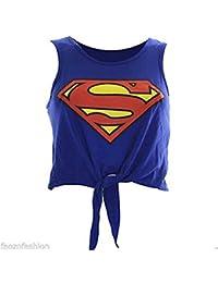 MyMixTrendz - Culture Superman Batman Femmes Top Tie Up Vest