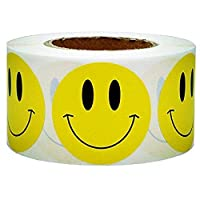 "Yellow Smiley Face Happy Stickers 2"" Inch Round Circle Teacher Labels 500 Total Smiley Stickers"