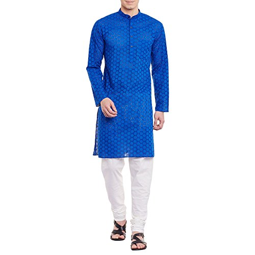 Herren bestickt Cutwork Kurta mit Churidar Pyjama Hose Maschine Baumwollstickerei, Brust 40 Zoll, XS, blau -