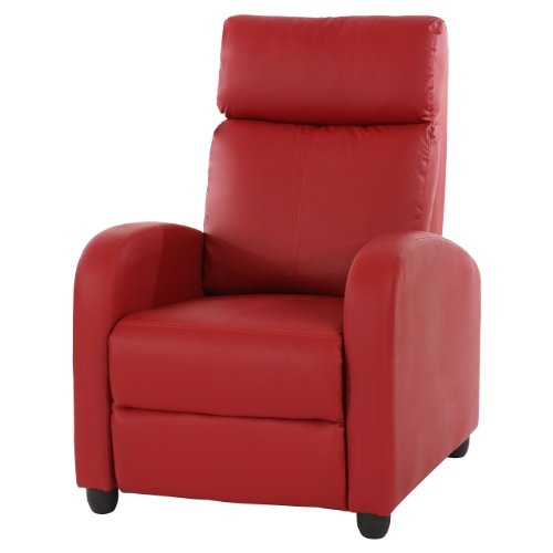 Fernsehsessel Relaxsessel Liege Sessel Denver, Kunstleder ~ rot