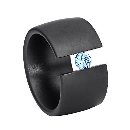 Heideman Ring Damen Elegantia breit aus Edelstahl schwarz matt Damenring für Frauen mit Swarovski Stein Zirkonia blau im Brillant Schliff 4mm