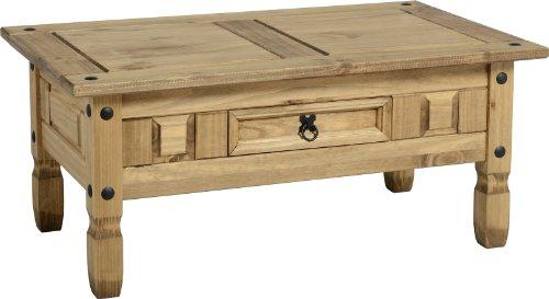 Seconique corona meuble de salon en pin mexicain salon gamme corona table basse avec tiroir for Table basse style mexicain