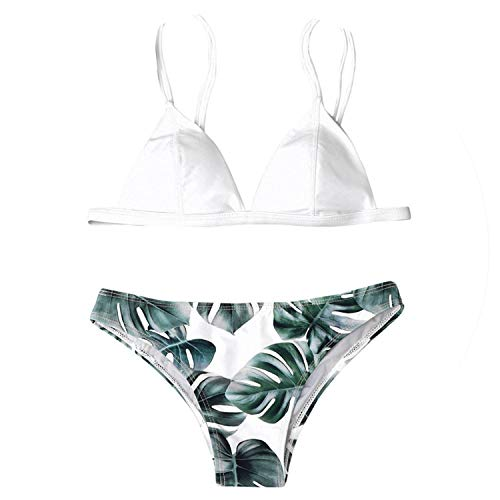 64952fa69838 2019 Sexy Bandage Bikinis Women Swimwear Bikini Set Print Leaves Push-Up  Padded Bathing Swimsuit Beachwear stroj kapielowy #3,White,M
