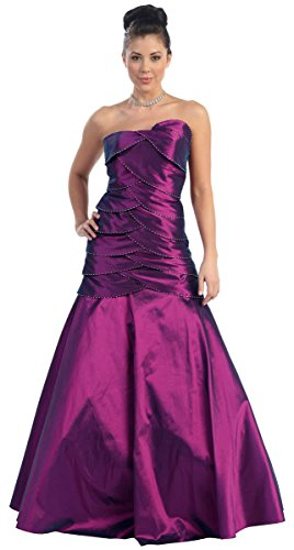 NL752 Ballkleid Festkleid Abschlussballkleid Abendkleid lang Purple 38