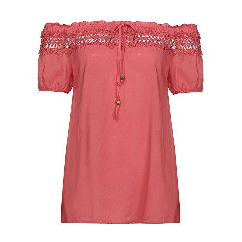 OverDose Damen Blumen Spitze Tops Frauen Kurzarm V-Ausschnitt Spitze Gedruckte Lose T-Shirt Bluse Oberteile Tees Shirt(X-a-Rot,EU-50/CN-5XL) (Short Plus Cool Sleeve Shirt)