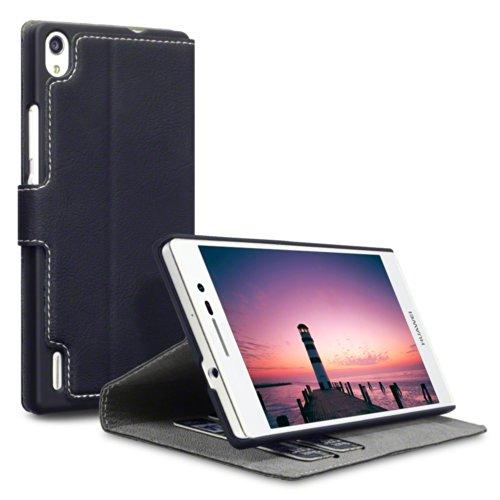 Terrapin Leder Tasche Case Hülle im Bookstyle mit Standfunktion Kartenfächer für Huawei Ascend P7 Schwarz