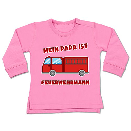 Bunt gemischt Baby - Mein Papa ist Feuerwehrmann - 6-12 Monate - Pink - BZ31 - Baby Pullover (Sweatshirt Kinder Stolz)