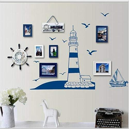 LETAMG Wandtattoos Blauer Ozean Leuchtturm Foto Rahmen DIY wandaufkleber Home nautisch dekor wandkunst Schlafzimmer Wohnzimmer - Moderne Leuchtturm