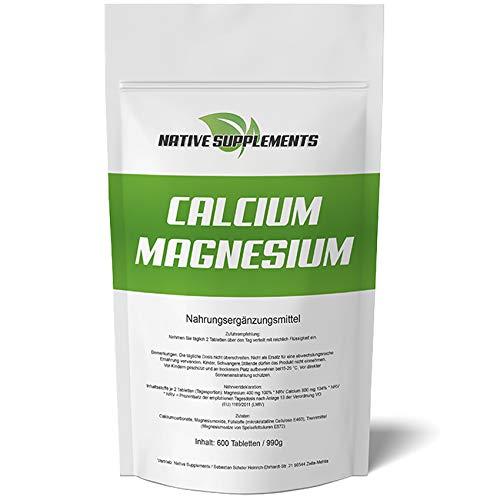 600 Tabletten Calcium & Magnesium, 1200mg Komplex pro Tagesdosis, Extra Rein, Hochdosiert und für Veganer geeignet, Kalzium Pharmaqualität -