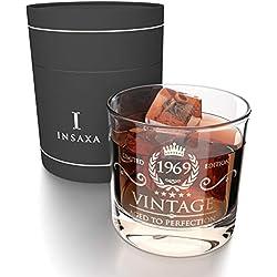 Cadeaux d'Anniversaire 50 Ans pour Hommes et Femmes. Vintage 1969 Verre à Whisky (380ml)