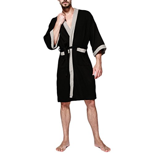 Zhhlinyuan Herren Waffle Soft Cotton Kimono Morgenmäntel Robe Bademäntel Wrap Housecoat für Gents Spa Hotel Pool All Seasons (Belted Robe Kimono)