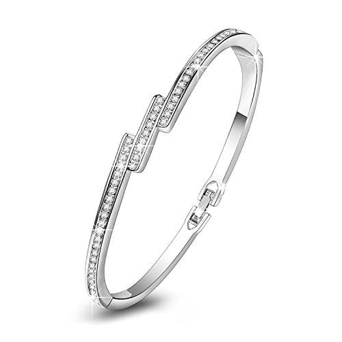 PAULINE & MORGENStern-Staub-Armband-Damen-Armband mit Kristallen Weißes Gold überzogen, kommen mit eleganter Schmuck-Geschenk-Kasten, nickelfreier passierter...