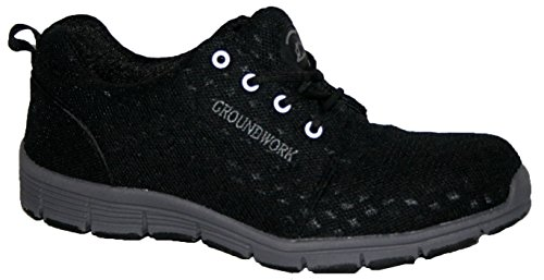 Groundwork Herren Stahlkappe Sicherheit Ultra Light Gewicht Arbeiten mit Spitze Trainer Schuhe, Schwarz - schwarz - Größe: 42 EU