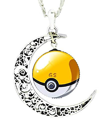 Legisdream - Collar con Colgante de Luna y Medalla con diseño de Trampa Amarilla y Blanca de Plata, Joya Original, Idea Regalo para Cualquier ocasión