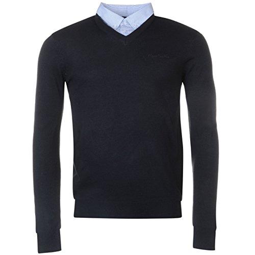 Pierre Cardin época del año V de Recorte de Jersey con Cuello de Camisa Mock Camisa Uso Marineblau/Blau X-Large