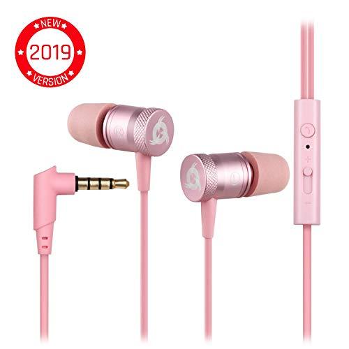KLIM Fusion Audio Kopfhörer - Langlebig + 5 Jahre Garantie - Innovativ: In-Ear-Kopfhörer mit Memory Foam [ Neue 2019 Version ] Rosa Gold -