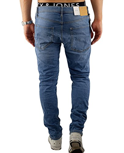 Jack & Jones Herren Slim Fit Jeans Denim Herrenhose Blau (Blue Denim Fit:SLIM jjiTIM 418)