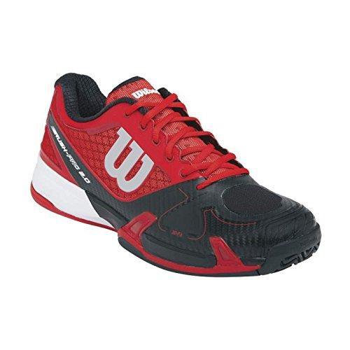 Wilson Scarpe da Corsa da Uomo Rush Pro 2.0 - Rosso / Nero / Carbonio - Rosso / Nero, EUR 42 - Wilson Racket Sports